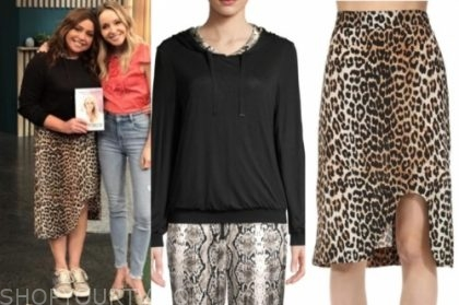 rachael ray's black reversible hoodie sweater and leopard skirt