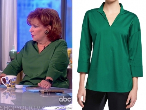 joy behar's green v-neck blouse, the view