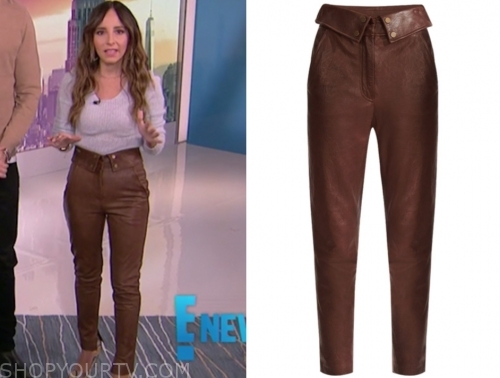 lilliana vazquez, brown leather pants, e! news