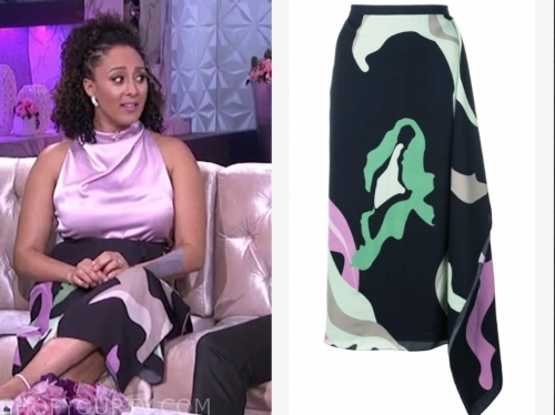 tamera mowry's printed midi skirt, the real