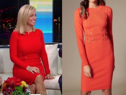 ainsley earhardt's red knit dress, fox and friends