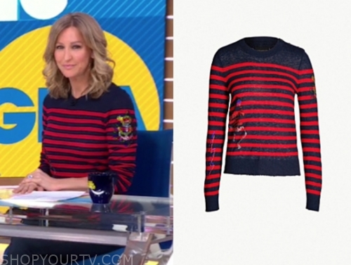 lara spencer's navy and red striped sweater, gma