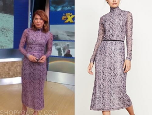 gma, ginger zee, purple snakeskin dress