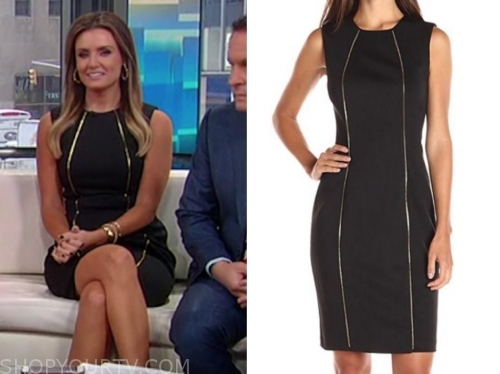 jillian mele's black and gold piping sheath dress, fox and friends