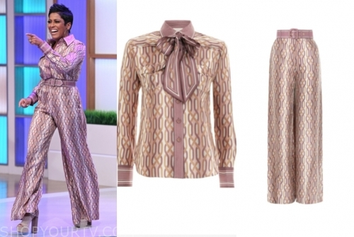 tamron hall, purple printed blouse and pants, tamron hall show