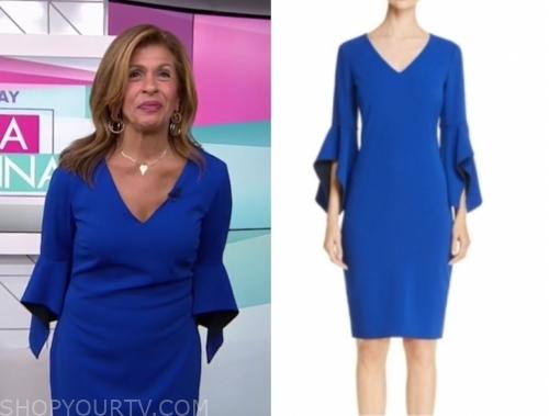 hoda kotb, the today show, blue v-neck sheath dress