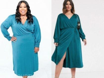 loni love, teal wrap midi dress, the real