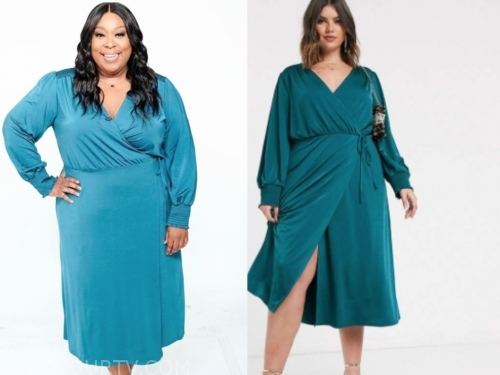 loni love, teal wrap midi dress, the real