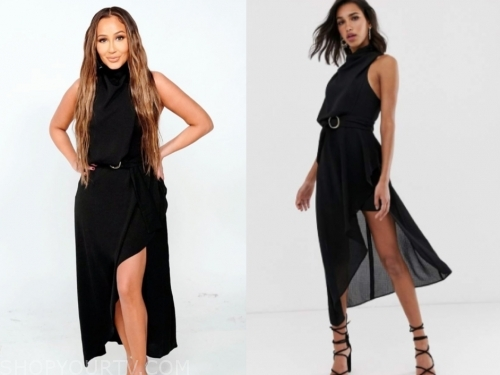 adrienne bailon, the real, black midi dress