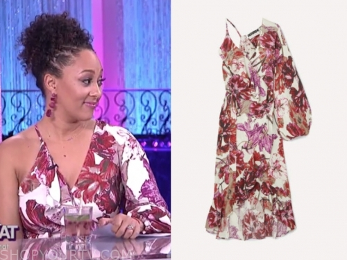tamera mowry, the real, floral asymmetric midi dress