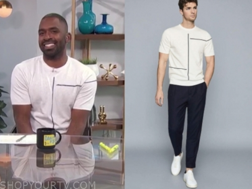 justin sylvester, white line tee, e! news, daily pop