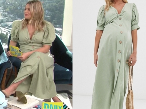 carissa culiner, green twist maxi dress, e! news, daily pop