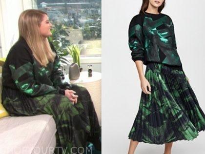 meghan trainor, green and black brushstroke sweater and skirt, E! news, daily pop