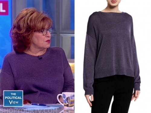 joy behar, the view, purple sweater