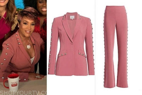 vivica a. fox, the talk, pink studded pant suit