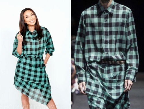 jeannie mai, the real, green and black check shirt dress