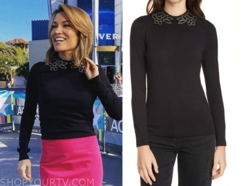 kit hoover, black embellished sweater, access hollywood
