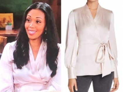 amanda sinclair, the young and the restless, silk wrap blouse