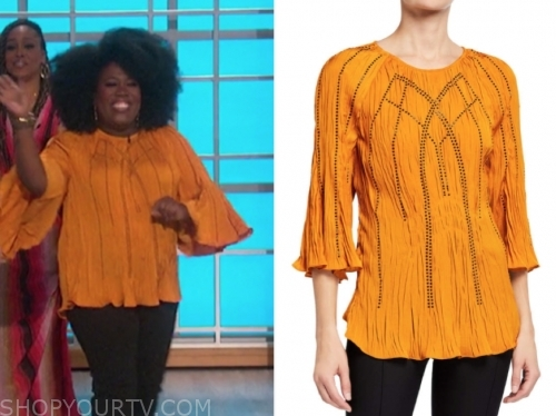 sheryl underwood, the talk, mustard yellow crinkle blouse