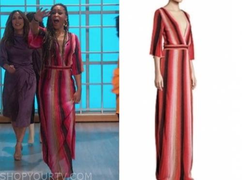 eve's metallic stripe maxi dress, the talk