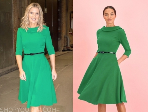 charlotte hawkins, gmb, green flare belted dress