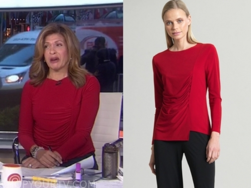 hoda kotb, the today show, red ruched top
