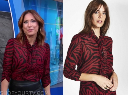 ginger zee, zebra blouse, gma