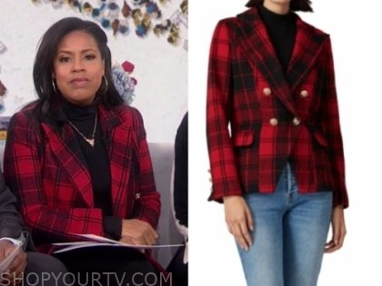 sheinelle jones, red and black plaid blazer, the today show