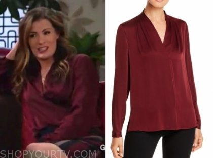 chelsea newman, burgundy blouse, the young and the restless, melissa claire egan