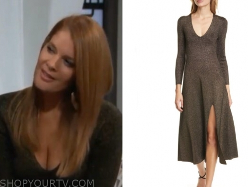 phyllis newman, michelle stafford, the young and the restless, metallic midi dress