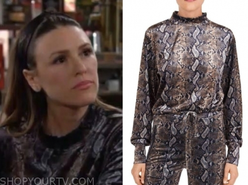 elizabeth hendrickson, chloe mitchell, snakeskin sweater, the young and the restless