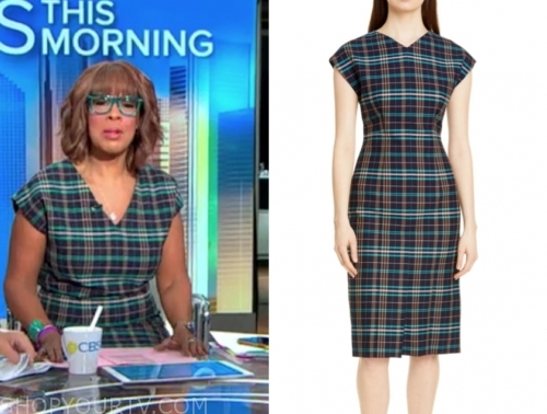 gayle king, cbs this morning, green plaid dress