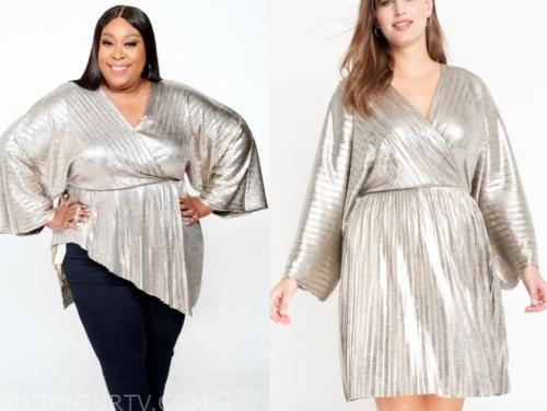 loni love, metallic wrap tunic top, the real