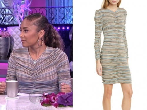 amanda seales, the real, metallic stripe ruched dress