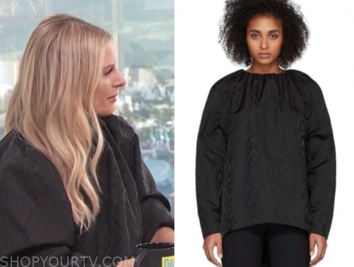 morgan stewart, black jacquard top, e! news, daily pop