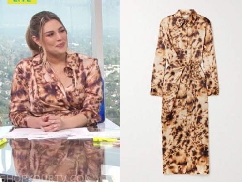 carissa culiner, E! news, brown tie dye dress