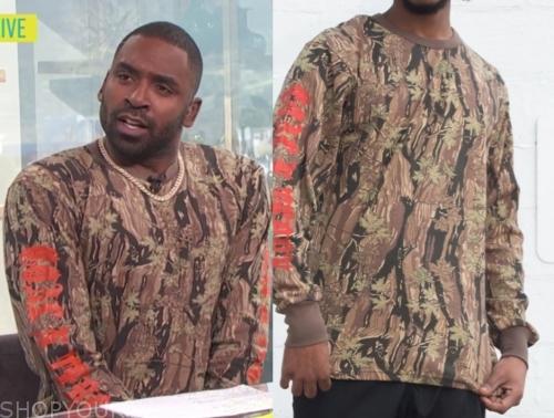 justin sylvester, E! news, camo sweater