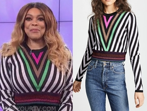 wendy williams, the wendy williams show, stripe chevron metallic knit sweater