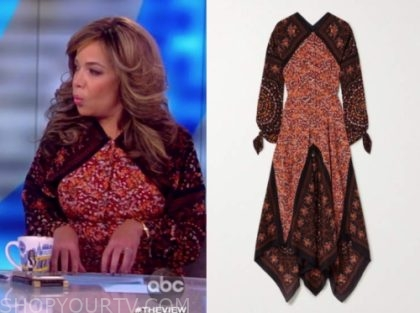 sunny hostin, red floral print dress, the view
