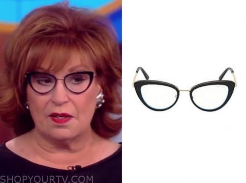 joy behar, the view, black frame eye glasses