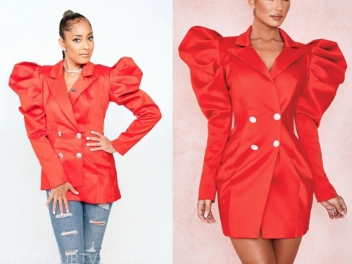 amanda seales, the real, red double breasted puff sleeve blazer