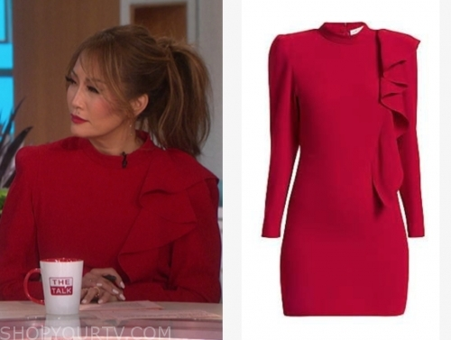 carrie ann inaba, the talk, red ruffle mock neck dress