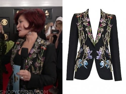 sharon osbourne, the talk, black floral embellished blazer