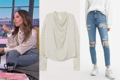 lilliana vazuqez, drape top and distressed jeans, E! news