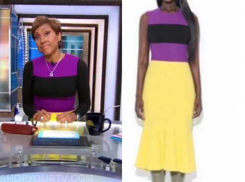 robin roberts, yellow and purple colorblock dress, good morning america