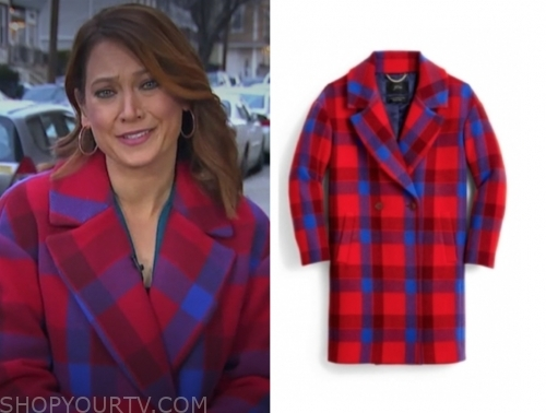ginger zee, good morning america, red and blue check coat