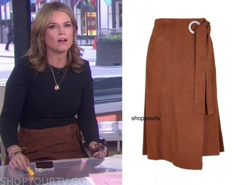 savannah guthrie, brown suede grommet skirt, the today show