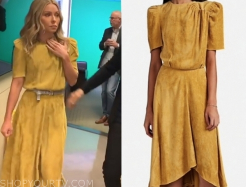 kelly ripa, live with kelly and ryan, yellow suede midi dress