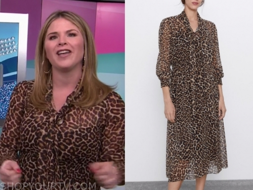 jenna bush hager, leopard tie neck midi dress, the today show