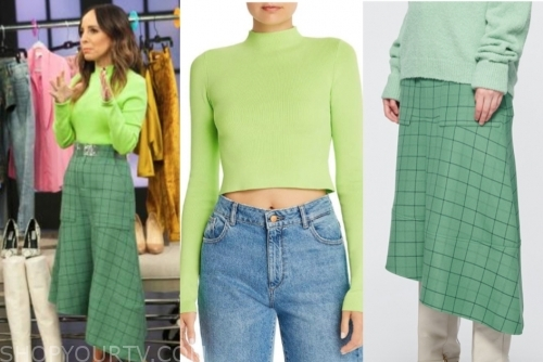 lilliana vazquez, green sweater, green grid skirt, the rachael ray show